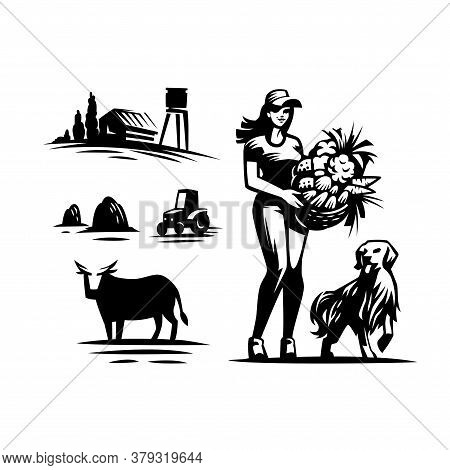 Set Of Vector Illustrations On A Rustic Harvest Theme. Village, Woman With A Basket Of Vegetables An