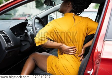 Driver Neck Injury Or Backpain. Bad Driving Posture