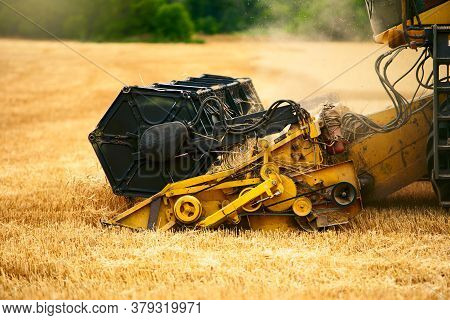 Cutting Bar Unit Or Reaper Machine Cuts Stems. Combine Harvester Working In Wheat Field. Harvesting