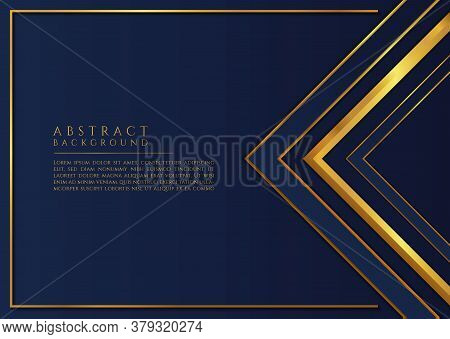 Abstract Triangle Shape Luxury Design Blue And Gold Color Overlap Layer Style. Vector Illustration.