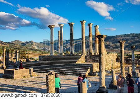 Volubilis, Morocco - Oct 14, 2019: Ruins Of The Roman Basilica Of Volubilis, A Unesco World Heritage