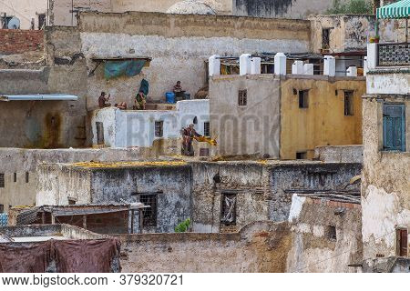 Fes, Morocco - Oct 15, 2019: Tanneries Of Fes, Morocco, Africa. Old Tanks Of The Tanneries In Fes Wi