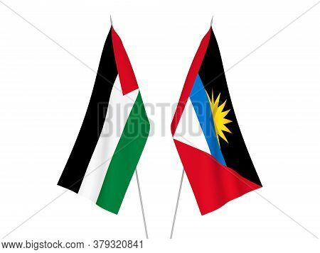 National Fabric Flags Of Palestine And Antigua And Barbuda Isolated On White Background. 3d Renderin