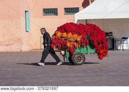 Marrakesh, Morocco - Oct 22, 2019: People At Jemaa El Fna Market Square In Marrakesh, Morocco, North