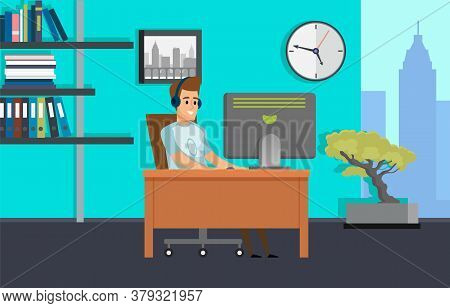 Worker Using Computer In Office, Employee In Headset With Pc, Office Interior, Shelf And Clock, Skys