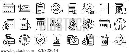 Set Of Calculator, Check Investment And Report Icons. Accounting Line Icons. Calendar, Banking Accou