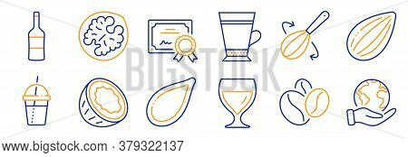 Set Of Food And Drink Icons, Such As Walnut, Wine. Certificate, Save Planet. Almond Nut, Coffee Bean