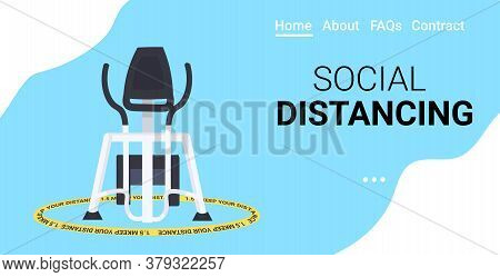 Stationary Bike In Yellow Round Sign Keep Distance To Prevent Coronavirus Social Distancing Safety I