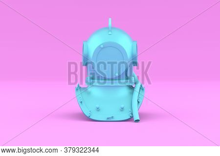 Painted Blue Scuba Helmet On Pink Background. Front View. Underwater Diving Helmet In Minimal Style.