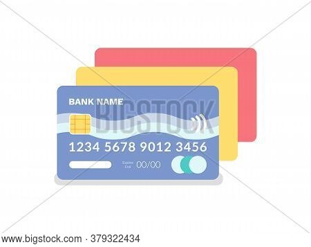 Credit And Debit Card Vector, Isolated Icon Of Plastic Item With Numbers And Special Code, Financial