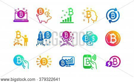 Blockchain, Crypto Ico And Cryptocurrency. Bitcoin Icons. Mining Classic Icon Set. Gradient Patterns