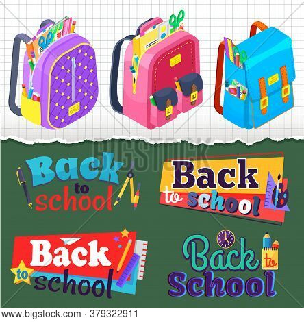 Back To School Concept Banner Vector, Set Of Satchels With Supplies And Textbooks. Scissors And Penc