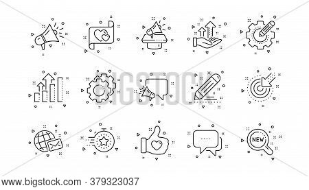 Business Strategy, Megaphone And Representative. Brand Social Project Line Icons. Influence Campaign