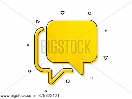 Speech Bubble Sign. Talk Bubble Icon. Chat Message Symbol. Yellow Circles Pattern. Classic Talk Bubb