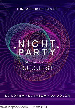Electro Event. Wavy Discotheque Invitation Template. Dynamic Gradient Shape And Line. Electro Event