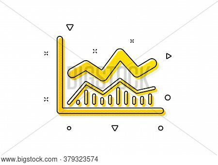 Financial Growth Graph Sign. Line Chart Icon. Stock Exchange Symbol. Yellow Circles Pattern. Classic