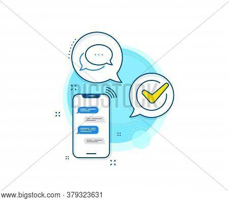 Chat Comment Sign. Phone Messages Complex Icon. Dots Message Line Icon. Speech Bubble Symbol. Messen