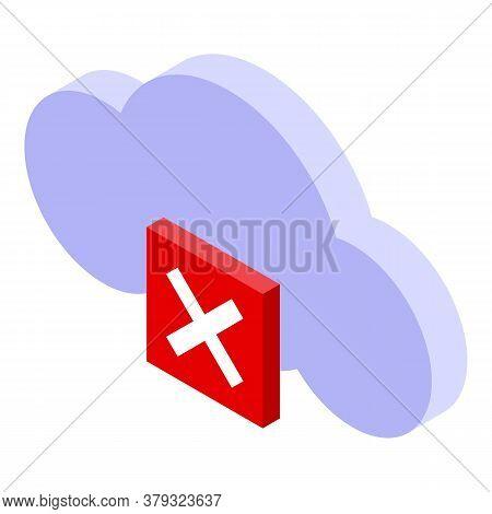 Authentication Cloud Data Error Icon. Isometric Of Authentication Cloud Data Error Vector Icon For W