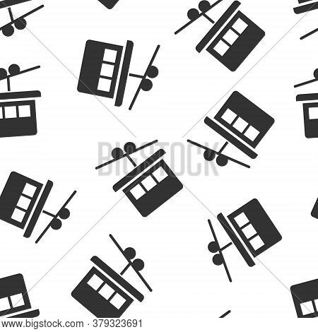 Cable Car Icon In Flat Style. Elevator Cabin Vector Illustration On White Isolated Background. Cable