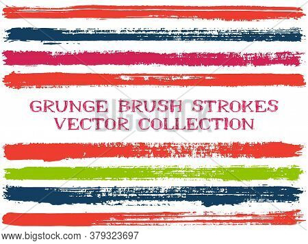 Long Ink Brush Strokes Isolated Design Elements. Set Of Paint Lines. Dirty Stripes, Textured Paintbr