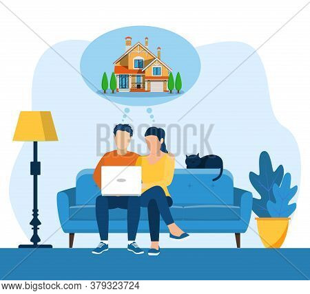 Young Man And Woman Using A Laptop While Sitting On A Sofa. Cartoon Couple Dreaming Of Home. Vector