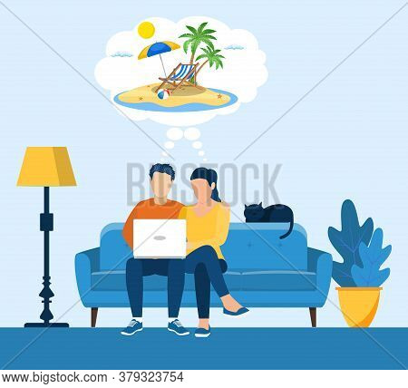 Young Man And Woman Using A Laptop While Sitting On A Sofa. Cartoon Couple Dream Of Traveling, Plann