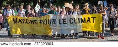 Strasbourg, France - Sep 21, 2019: Front View Of Large Group Of People Climate Change Activists With