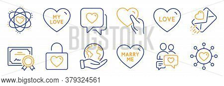 Set Of Love Icons, Such As Love Letter, Dating Chat. Certificate, Save Planet. Hold Heart, Dating Ne