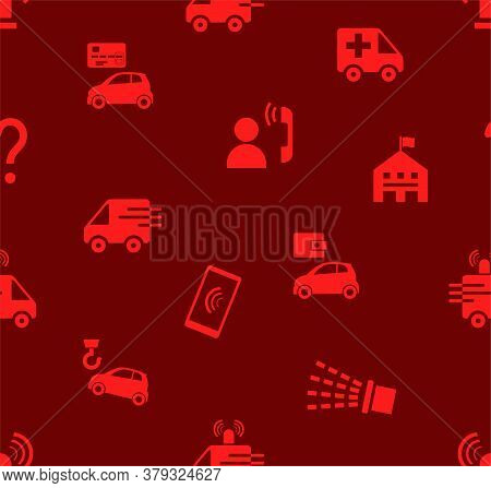 Emergency Services, Seamless Pattern, Flat, Red, Color, Vector. Emergency Medical And Fire Assistanc