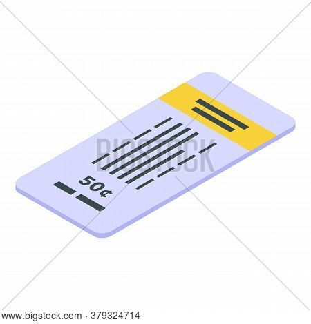 50 Cents Bus Ticket Icon. Isometric Of 50 Cents Bus Ticket Vector Icon For Web Design Isolated On Wh