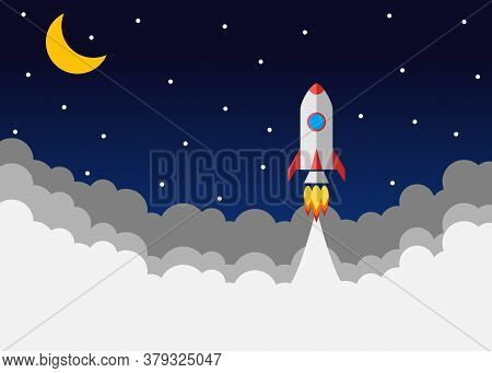 Rocket Launch. Vector, Concept Of An Illustration Of A Business Product On The Market Startup. Start