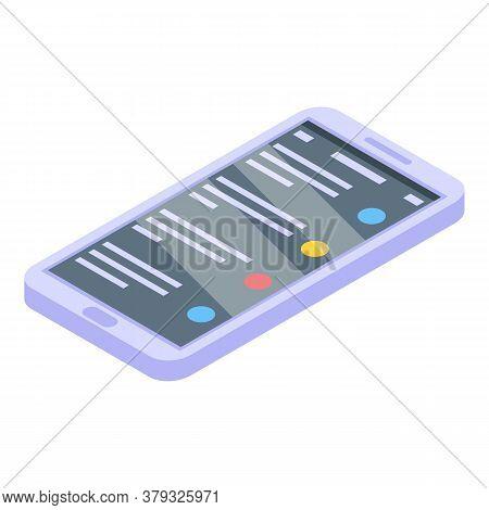 Smartphone Storage Documents Icon. Isometric Of Smartphone Storage Documents Vector Icon For Web Des