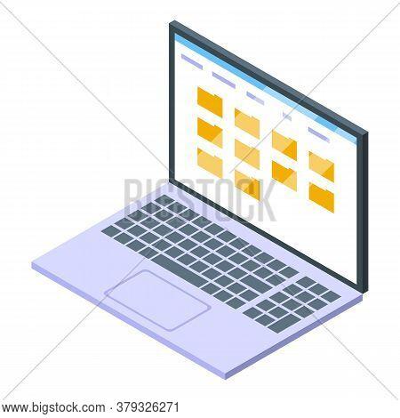 Laptop Storage Document Icon. Isometric Of Laptop Storage Document Vector Icon For Web Design Isolat