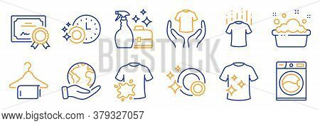 Set Of Cleaning Icons, Such As Hand Washing, Hold T-shirt. Certificate, Save Planet. Clean Dishes, D