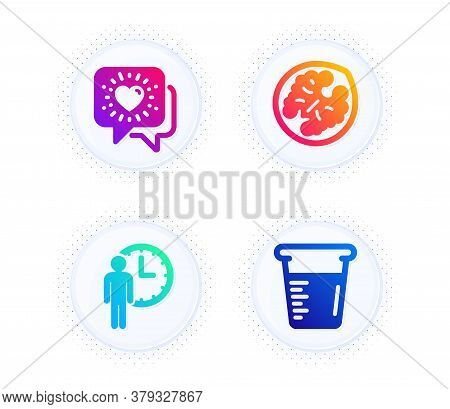 Friends Chat, Waiting And Walnut Icons Simple Set. Button With Halftone Dots. Cooking Beaker Sign. F