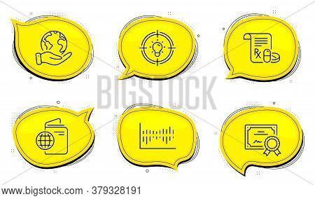 Medical Prescription Sign. Diploma Certificate, Save Planet Chat Bubbles. Column Diagram, Idea And T