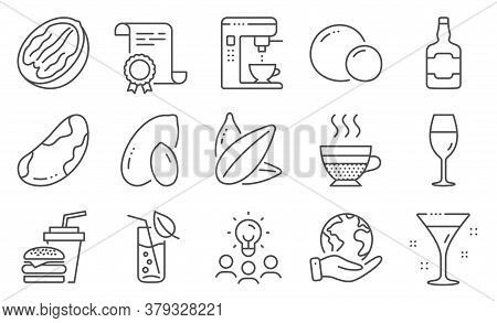 Set Of Food And Drink Icons, Such As Sunflower Seed, Water Glass. Diploma, Ideas, Save Planet. Peanu