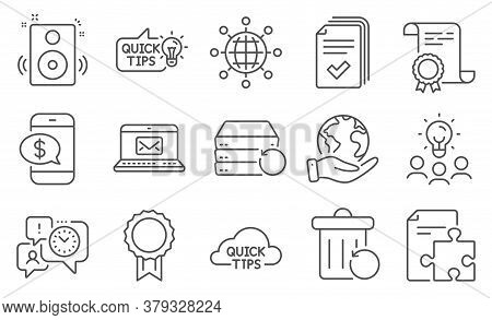 Set Of Education Icons, Such As Recovery Server, Phone Payment. Diploma, Ideas, Save Planet. Handout