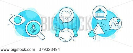 Roller Coaster, Heart And Carousels Line Icons Set. Handshake Deal, Research And Promotion Complex I