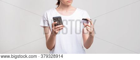 Mobile Banking. Personal Data Verification. Woman Making Shopping Online With Credit Card On Phone I