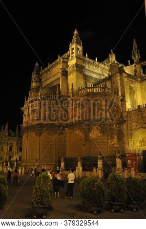 Seville, Spain - July 9, 2011:seville Cathedral Late At Night. Spain