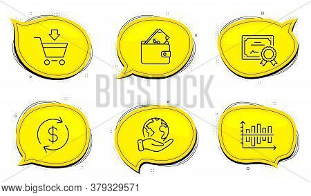 Diagram Chart Sign. Diploma Certificate, Save Planet Chat Bubbles. Wallet, Usd Exchange And Online M
