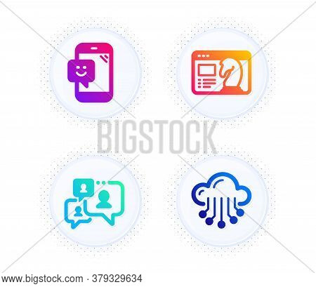 Support Chat, Smile And Seo Strategy Icons Simple Set. Button With Halftone Dots. Cloud Storage Sign
