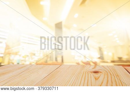 Perspective Empty Wooden Table On Top Over Blur Background, Can Be Used Mock Up For Montage Products