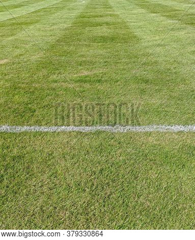 The White Marking Line On A Grass Football Pitch