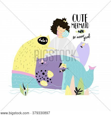 Cute Girl With His Beloved Cats Mermaids
