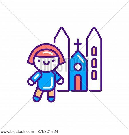 Religious Tourism Line Color Icon. Cute Girl Near Church Kawaii Pictogram. Sign For Web Page, Mobile