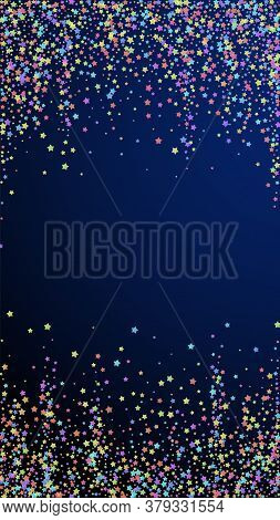 Festive Bold Confetti. Celebration Stars. Colorful Stars Dense On Dark Blue Background. Good-looking