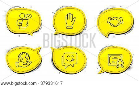 Employees Handshake Sign. Diploma Certificate, Save Planet Chat Bubbles. Hand, Yummy Smile And Custo