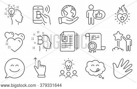 Set Of People Icons, Such As Smile Chat, Cv Documents. Diploma, Ideas, Save Planet. Star, Yummy Smil